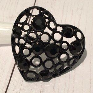 🦋New Listing🦋VTG Black Enameled Heart Ring